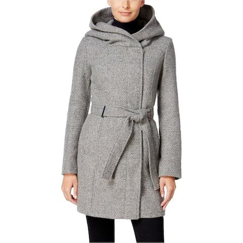 Calvin Klein Womens Asymmetrical Coat, green, XX-Large