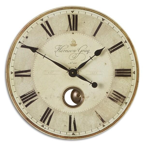 """Uttermost 06032 Harrison Gray 23"""" Wide Analog Wall Clock - Brass. Opens flyout."""