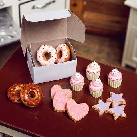 Bakery Collection Set of Cookies, Strawberry and Chocolate Doughnuts and Frosted Cupcakes, Accessories for 18 Inch Girl Dolls.