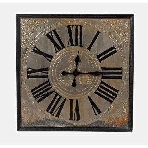 Wayland Jackson Weathered Engraved Zinc and Wood 30-inch Clock by Jofran