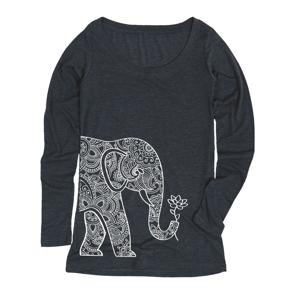 Left Side Elephant Holding Lotus-ADULT Womens LONG SLEEVE TEE