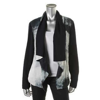 DKNY Womens Open-Front Blazer Crepe Printed