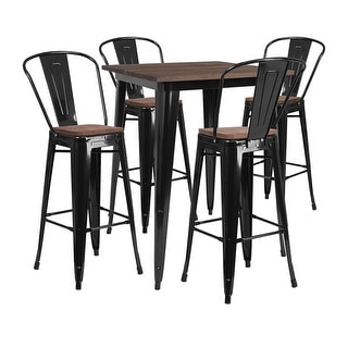 """Offex 31.5"""" Square Black Metal Bar Table Set with Wood Top and 4 Stools"""