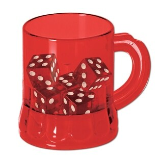 """Club Pack of 12 Red Plastic Casino """"Mug Shots"""" with Dice Decorations 3oz"""