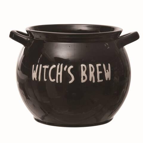 Transpac Ceramic Black Halloween Large Treat Cauldron Bowl
