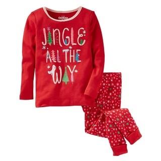 OshKosh B'gosh Big Girls' 2-Piece Jingle Snug Fit Cotton PJs, 8 Kids