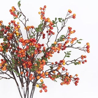 """G Home Collection Artificial Latex Coated Berry Stem in Yellow Orange 27"""" Tall"""