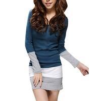 Ladies Spring Scoop Neck Stretchy Mini Dress Navy Blue S - Navy blue