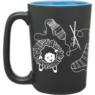 Blue - Knit Happy Scribbles Mug 10Oz