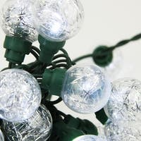 Set of 25 Clear Tinsel Wide Angle LED G30 Globe Wedding Christmas Lights - Green Wire
