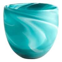 "Cyan Design 8783 Sea Swirl 8"" Tall Glass Blue-Green Swirl Decorative Bowl - Green"