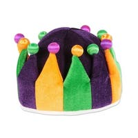 Pack of 6 Mardi Gras Celebration Orange, Green and Purple Plush Jester Crown 22""