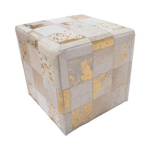"Noori Home Gold Foil Hide Pouf Flynn, Ivory (18""x18""x18"")"