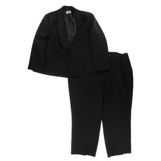 Le Suit Womens Plus Pant Suit Metallic-Stripe One-Button - 24W