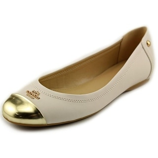Coach Chelsea Flat Women Round Toe Leather Ivory Ballet Flats