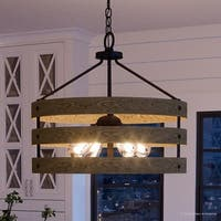"Luxury Modern Farmhouse Pendant Light, 18.25""H x 21.625""W, with Rustic Style, Charcoal  Finish by Urban Ambiance"