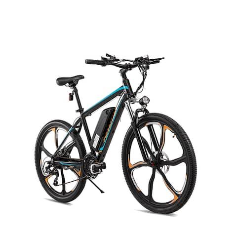 POLESITTER Turquoise/Tangerine Adults Electric Mountain Bike in 21 Speed 350W