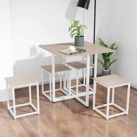 Merax 5 Piece Industrial Bar Table Set with 4 Bar Stools
