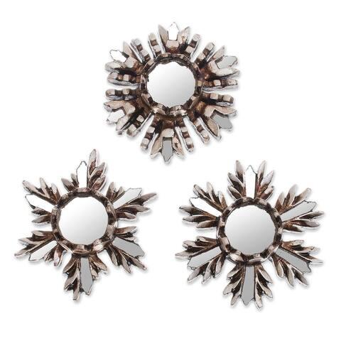 "Handmade Snowflake Reflection Aluminum Mirrors, Set of 3 (Peru) - 3.9 "" H x 3.9"" W x 1.0 "" D"