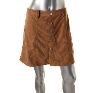 Olivaceous Womens Faux Suede Button Front A-Line Skirt