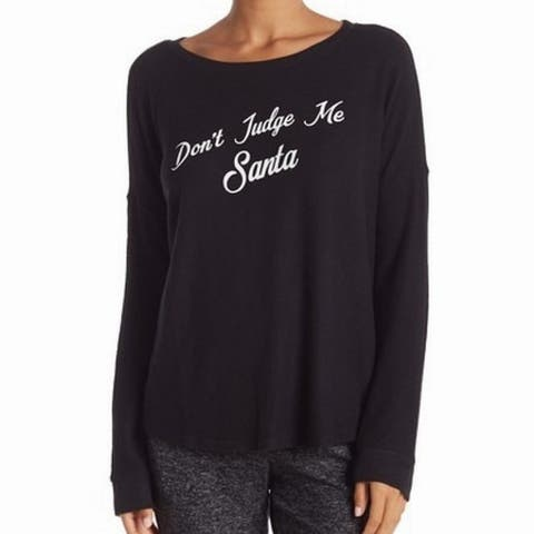 "Free Press Black Women Small S ""Don't Judge Me Santa"" Pullover Sweater"