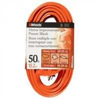 Coleman Cable 0826 3 Outlet Power Block, 14/3 X 50 Ft, Orange Sleeved