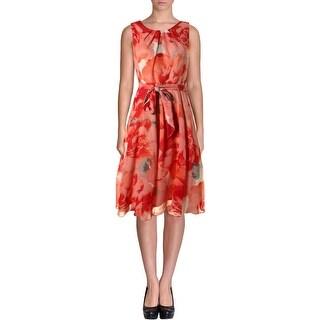 Jessica Howard Womens Petites Chiffon Floral Print Cocktail Dress