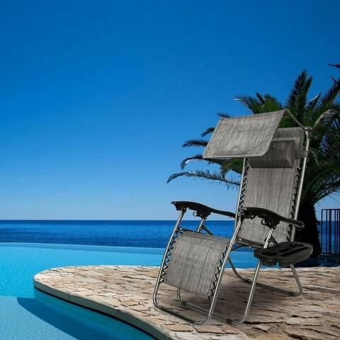 Zero Gravity Folding Patio Lounge Beach Chairs w/ Canopy Magazine Cup Holder Awning
