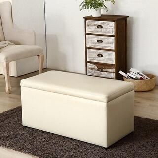 Belleze Storage Bench w/ Ottoman Cube Footrest w/ Tray - Cream