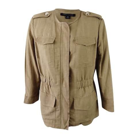 Tommy Hilfiger Women's Plus Size Military Full-Zip Jacket (18W, Mushroom) - Mushroom - 18W