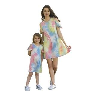 Women Blue Cold Shoulders Tie-Dye Summer Dresses