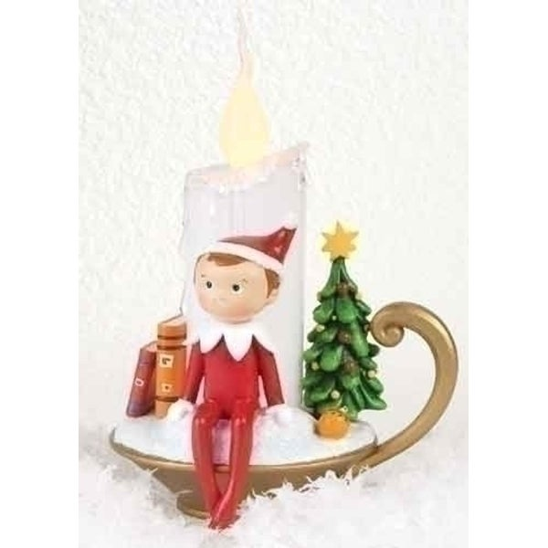 "6.75"" Decorative Red, Green and White Elf on the Shelf Flameless LED Christmas Candle"