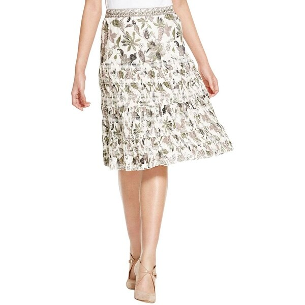 Tory Burch Womens Peasant, Boho Skirt Smocked Printed