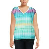 Calvin Klein Womens Plus Pullover Top Printed Chiffon