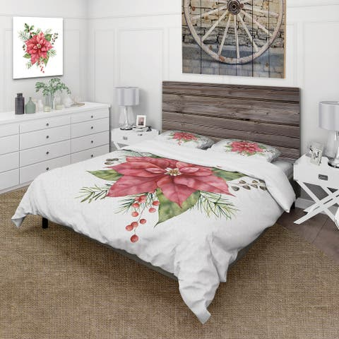 Designart 'Holly Mistletoe Berries & Christmas Fir Branch II' Traditional Duvet Cover Comforter Set