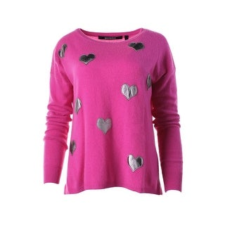 Quo-ta-tion Womens Cashmere Heart Patch Pullover Sweater - S