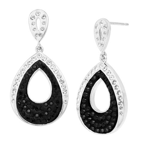 Teardrop Earrings with Black & White Crystals in Rhodium-Plated Bronze