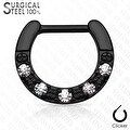 Five CZs Paved Single Line 316L Surgical Steel Septum Clicker (Sold Ind.) - Thumbnail 2