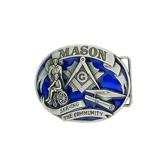 """Mason """"Serving the Community"""" Enameled Belt Buckle - One size"""