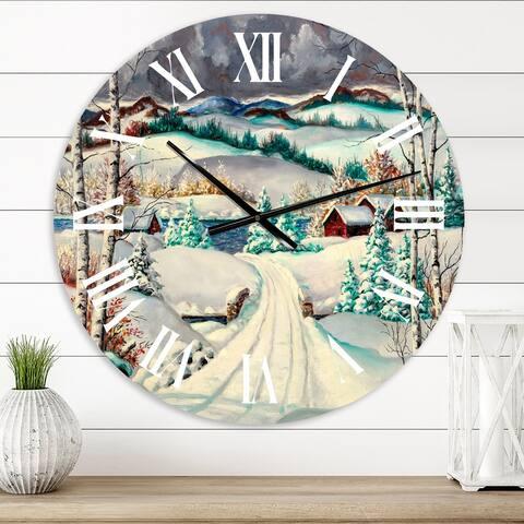 Designart 'Snowy Road In Rural Winter Landscape' Traditional wall clock