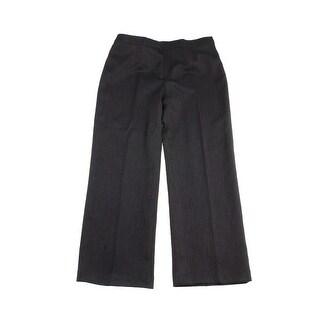 Le Suit Brown Textured Side-Zipped Straight-Leg Slacks 16