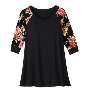 Women's Tunic Top - Black Velvet With Floral Sleeves - 3/4 Sleeves