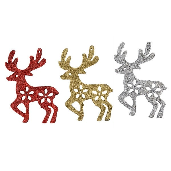 3pcs Christmas Tree Decoration Deer Shaped Hanging Bauble Ornements
