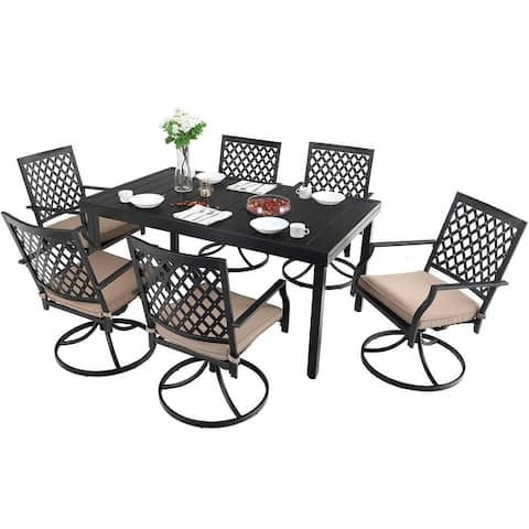 MFSTUDIO Seats up to 6/8 Outdoor Patio Dining Set, 6/8 Metal Mesh Swivel Chairs, 1 Rectangular Expandable Table