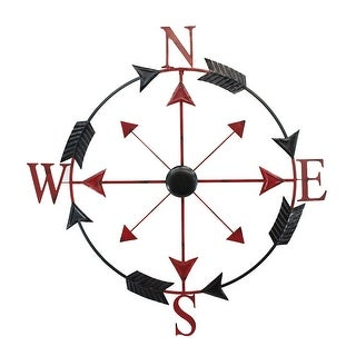38 Inch Diameter Black and Red Compass Rose Wall Hanging