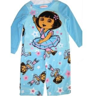 Nickelodeon Baby Girls Sky Blue Dora The Explorer Print 2 Pc Pajama Set 12-24M