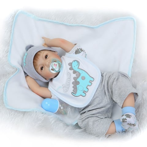 """NPK 22"""" Silicone Lovely Baby Doll with Dinosaur Shape Bib Gray Clothes - 22"""""""