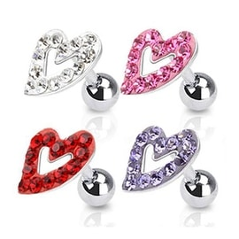 """Surgical Steel Tragus/Cartilage Barbell with Paved Hollow Heart Top - 16GA 1/4"""" Long (Sold Ind.)"""