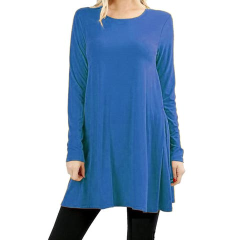 Women's Tunic Top Loose Fit Flare Dress Long Sleeve Shirt