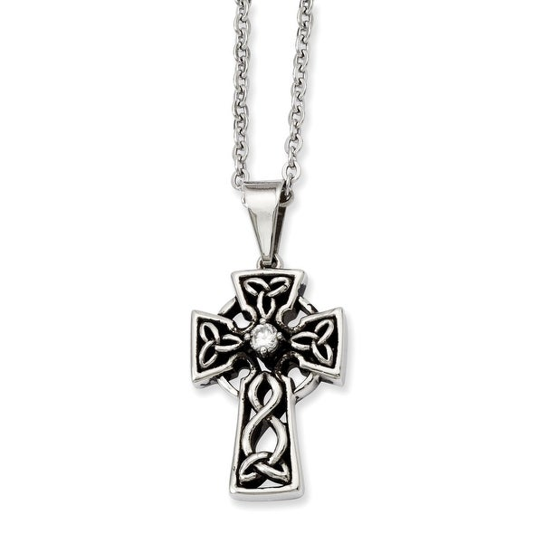 Stainless Steel Antiqued & CZ Cross Pendant 20in Necklace (1 mm) - 20 in